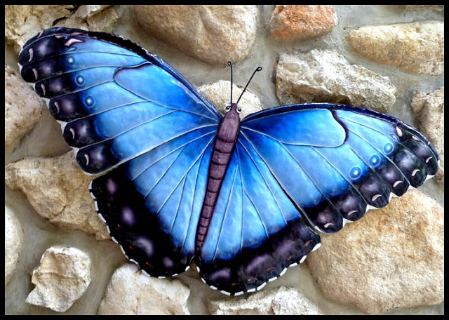 Decorative Metal Art Hand Painted Metal Butterfly