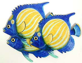 metal fish art wall decor.htm 3 tropical fish wall decor handcrafted painted metal outdoor  3 tropical fish wall decor