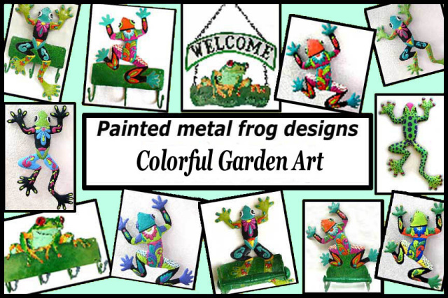 Frog Wall Art Designs In Brightly Hand Painted Metal