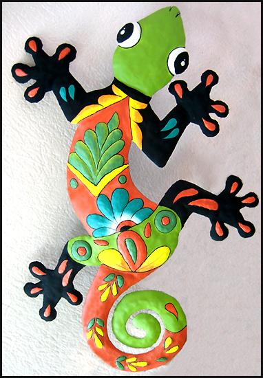 Hand Painted Metal Outdoor Garden Art Geckos Butterflies Suns Moons Tropical Fish More