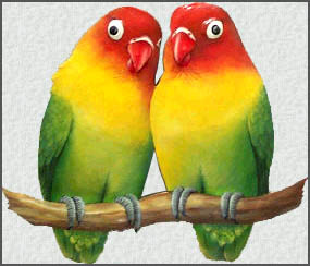 Painted Metal Lovebirds Wall Decor